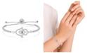 Macy's Cubic Zirconia Hamsa Adjustable Bolo Bracelet In Fine Silver Plate