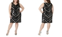 Maree Pour Toi Plus Size Sequin Chevron Sheath Dress