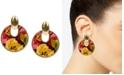 Patricia Nash Gold-Tone Floral-Print Leather Doorknocker Drop Earrings