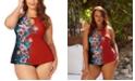 Raisins Curve Trendy Plus Size Juniors' Flourish Printed Rosalie Underwire Tankini Top & Ruched Costa High-Waist Bikini Bottoms