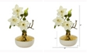 Nearly Natural 16in. Anemone Artificial Arrangement in Gold and Cream Elegant Vase