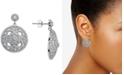 Macy's Cubic Zirconia Floral Openwork Disc Drop Earrings in Sterling Silver