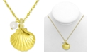 """Kona Bay Shell & Freshwater Pearl (6mm) Pendant Necklace in Gold-Plate, 16"""" + 2"""" extender"""