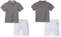 Calvin Klein Little Boys 2-Pc. Logo-Print Polo Shirt & Twill Shorts Set