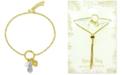 Kona Bay Pineapple & Imitation Pearl Charm Bolo Bracelet in Gold-Plate & Fine Silver-Plate