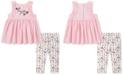 Calvin Klein Baby Girls 2-Pc. Ruffle Tunic & Floral-Print Leggings Set