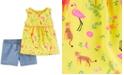 Carter's Baby Girls 2-Pc. Flamingo-Print Tunic & Chambray Shorts Set