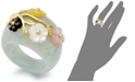 Macy's Jade and Multicolored Mother of Pearl (8mm) Flower Ring in 14k Gold over Sterling Silver