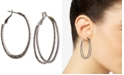 Charter Club Silver-Tone Textured Double-Row Hoop Earrings, Created For Macy's