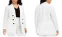 Bar III Trendy Plus Size Double-Breasted Windowpane Blazer, Created for Macy's