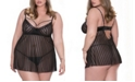 iCollection Plus Size Striped Mesh Babydoll 2pc Lingerie Set, Online Only