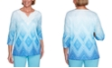 Alfred Dunner Petite Sea You There Diamond Lace Ombré Knit Top
