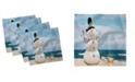 "Ambesonne Snowman Set of 4 Napkins, 12"" x 12"""