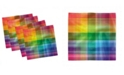 """Ambesonne Vintage-Like Rainbow Set of 4 Napkins, 12"""" x 12"""""""