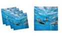 """Ambesonne Dolphin Set of 4 Napkins, 18"""" x 18"""""""
