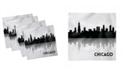 "Ambesonne Chicago Skyline Set of 4 Napkins, 18"" x 18"""