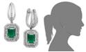Macy's 14k White Gold Earrings, Emerald (2 ct. t.w.) and Diamond (3/4 ct. t.w.) Drop Earrings
