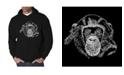 LA Pop Art Men's Chimpanzee Word Art Hooded Sweatshirt