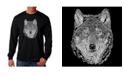 LA Pop Art Men's Word Art - Wolf Long Sleeve T-Shirt