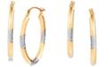 Macy's Two-Tone Oval Hoop Earrings in 14k Gold & White Rhodium-Plate