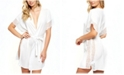 iCollection Sherry Lace Trimmed Robe with Double Side Slits