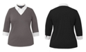 Karen Scott Plus Size Cotton Layered-Look Collared Top, Created for Macy's