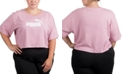 Puma Plus Size Cropped Cotton Logo T-Shirt
