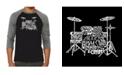 LA Pop Art Drums Men's Raglan Word Art T-shirt