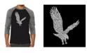 LA Pop Art Eagle Men's Raglan Word Art T-shirt