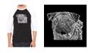 LA Pop Art Pug Face Men's Raglan Word Art T-shirt
