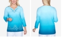 Alfred Dunner Women's Plus Size Colorado Springs Ombre Scroll Embroidery Top