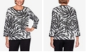 Alfred Dunner Women's Plus Size Knightsbridge Station Animal Jacquard Sweater