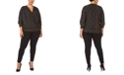 Black Tape Plus Size Long-Sleeve Wrap Top