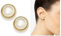 Lauren Ralph Lauren Gold-Tone Bezel Acrylic Pearl Stud Earrings