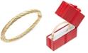 Italian Gold Twist Hinge Bangle Bracelet in 14k Gold or White Gold