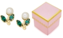 Macy's Children's Cultured Freshwater Pearl and Green Crystal Stud Earrings in 14k Gold