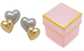 Macy's Children's Two-Tone Beaded Heart Stud Earrings in 14K Yellow Gold with Rhodium Plate