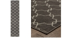 """JHB Design CLOSEOUT!  Soleil Jagged Charcoal 1'10"""" x 7'6"""" Indoor/Outdoor Runner Rug"""