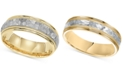 Macy's Two-Tone Hammered Wedding Band in 14k Gold & White Gold