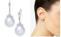 Macy's Cultured Baroque White South Sea Pearl (11mm) & Diamond (1/8 ct. t.w.) Drop Earrings in 14k White Gold