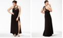Morgan & Company Trendy Plus Size Embellished Cutout Halter Gown