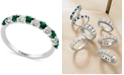 EFFY Collection Gemstone Bridal by EFFY® Emerald (1/2 ct. t.w.) & Diamond (1/4 ct. t.w.) Band in 18k White Gold (Also Available in Ruby, Sapphire, & Pink Sapphire)