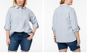 Tommy Hilfiger Plus Size Cotton Utility Shirt, Created for Macy's