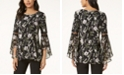 Alfani Petite Floral-Print Bell-Sleeve Top, Created for Macy's