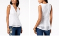 Thalia Sodi Lace Zip-Detail Peplum Top, Created for Macy's