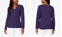 Karen Scott Petite Cotton Henley-Neck Top, Created For Macy's