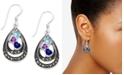 Macy's Cubic Zirconia & Marcasite Double Teardrop Drop Earrings in Fine Silver-Plate