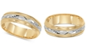 Macy's Two-Tone Decorative Beaded Edge Wedding Band in 14k Gold & White Gold