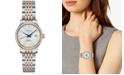 Longines Women's Swiss Automatic Record Diamond (1/2 ct. t.w.) Stainless Steel & 18K Rose Gold Cap 200 Bracelet Watch 30mm