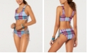 Hula Honey Check It Out Printed Bralette Bikini Top, Available in D/DD & Check It Out Printed Side-Lace Hipster Bottoms, Created for Macy's